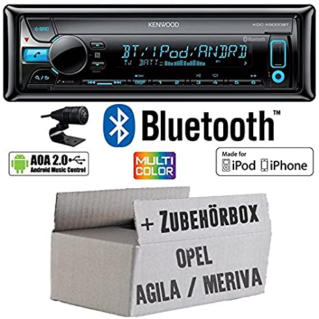 OPEL AGILA A MERIVA A Noir - Kenwood de X500 0bt - Bluetooth Kit de montage autoradio CD/MP3/USB varioc OCTOCOLOR -
