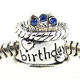 Queenberry Sterling Silver Birthday Cake W/ Sapphire Blue Cz Crystal Bead For Pandora Troll Chamilia Biagi European Charm Bracelets Birthstone September