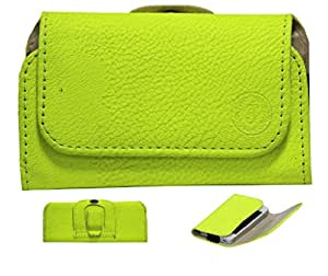 J A4 G8 Belt Case Mobile Leather Carry Pouch Holder Cover Clip For QMobile Noir S9 Parrot Green