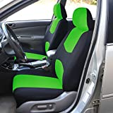 FH-FB050112 Flat Cloth Car Seat Covers Green / Black Color