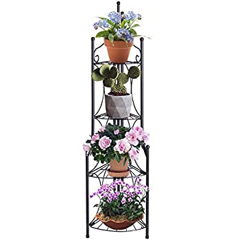 DOEWORKS 4 Tier Folding Plant Stand Pot Rack & Metal Corner Shelf, Storage Shelves for Living Room Bedroom,11.2 L x 11.8 W x 43.3 H