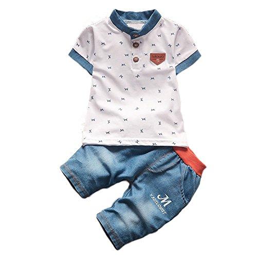 【SEBLES】ベビー 赤ちゃん 男の子 半袖 バンドカラー ポロシャツ 柄 デニム風 パンツ ズボン ボトムス コットン 綿 コットン ツーピース セット 夏 春