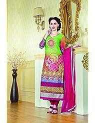 Fabfiza Womens Semi-Stitched Georgette Zari Straight Salwar Suit (Fbpr-2107)