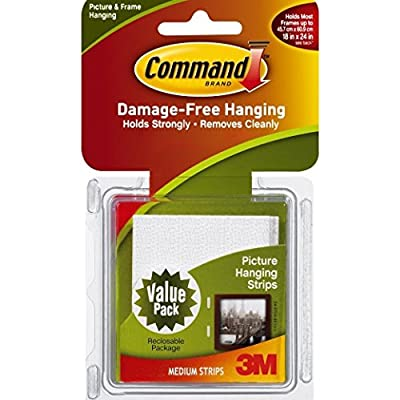 Command Medium Picture-Hanging Strips, 18 -Picture (Package include OfficeSupplyExpress Retractable Pen)