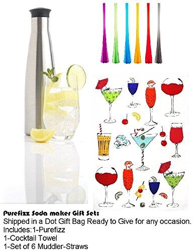 Purefizz Gift Set, Includes:1-Purefizz Soda Maker, Set Of 6 Cocktail Muddler Straws, 1-Dish Towel - Cocktail Design - 20 X 30 Inches