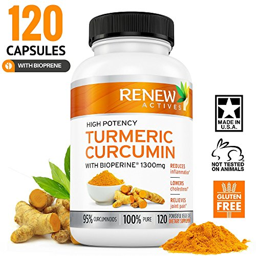 DOUBLE STRENGTH TURMERIC + BIOPRENE! 2 Month Supply! 1300mg. Non-GMO. Benefits Anti-inflammatory & Anti-Aging. Relieve Joint Discomfort with Better Joint Function - Feel Less Joint Pain in 2 weeks!