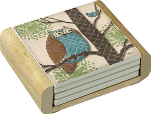 CounterArt Absorbent Coasters in Wooden Holder, Fantasy Owl Design, Set of 4