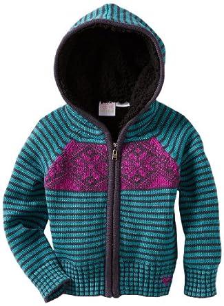 Roxy Little Girls' Frozen Toes Chunky Knit Sweater, Blue Black Stripe, X-Large