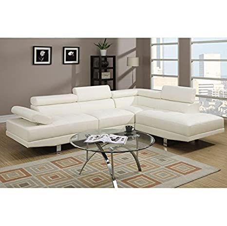 Modern 2 Pieces Faux Leather Sectional Sofa Right Chaise by Poundex