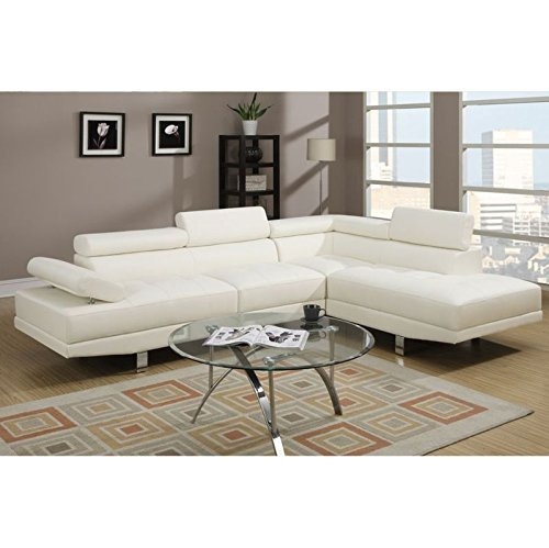 Modern 2 Pieces White Faux Leather Sectional Sofa Right Chaise by Poundex