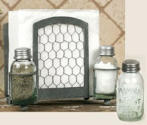 Colonial Tin Works Chicken Wire Salt Pepper and Napkin Caddy