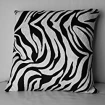 18 Decorative Throw Pillow in Zebra Black & White Pattern (Set of 2)