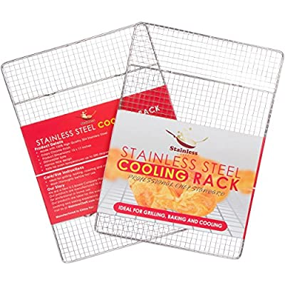 "Stainless Steel Cooling Rack For Baking - Non Stick Heavy Duty Cooling Rack For Baking & Grilling. Oven Safe, Commercial Quality - 12"" X 17"" - Fits Half Sheet Cookie Pan."