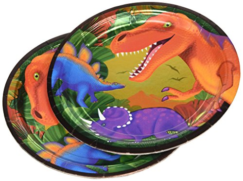Prehistoric Dinosaurs Metallic Lunch Plates, 8ct