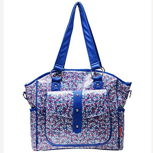 Bellotte Designer Tote Diaper Bag, Blue Flora