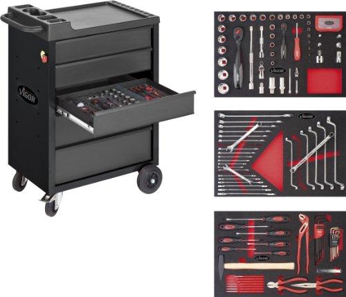Vigor-V2379-VIGOR-Werkstattwagen-500-Black-Edition-mit-5-Schubladen-und-mit-160-Werkzeugen-in-2K-Weichschaum-Einlagen-V2375-V2376-V2378