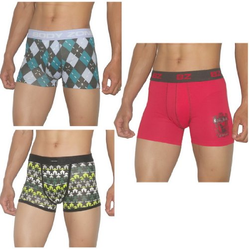 3 PACK: Mens Body Zone Fitted Fine knit Bodywear Boxer Trunks / Underwear Briefs - Size-Small