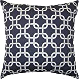 JinStyles® Cotton Canvas Trellis Chain Accent Decorative Throw Pillow Cover (Navy Blue & White, Square, 1 Cushion Sham for 20 x 20 Inserts)