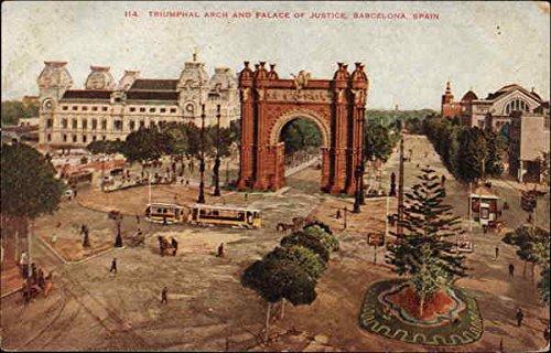 Triumphal-Arch-and-Palace-of-Justice-Barcelona-Spain-Original-Vintage-Postcard