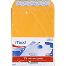 Mead Press-It Seal-It Envelopes, 9 x 12 Inch, Office Pack 25 Count (76086)