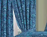 "Dolphin, Sea / Ocean / Waves / Splash Blue, 66"" Width x 72"" Drop Curtains With Matching Tie Backs"