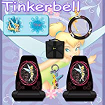 6 Pc Car Accessories, Tinkerbell Optical Tink Car Seat Covers, Steering Wheel Covers, Sundshade, Keychain and a Stylish CD Wallet