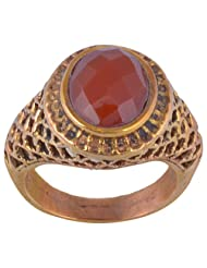Metal Ring With Natural Red Onyx Stone