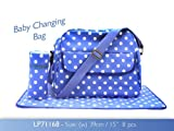 Blue Dotty Baby Changing Bag with Changing Mat and Bottle Bag Oilcloth