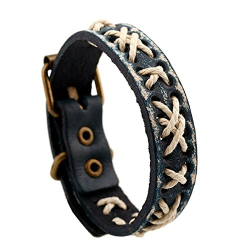 MORE FUN Retro Style Leather Handmade Belt Wristband Bangle Vintage Metal Clasp Cuff Bracelet (Black) (Belt Strapping compare prices)