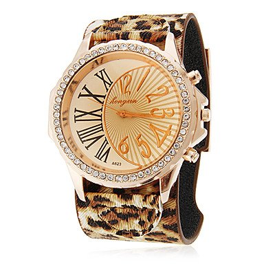 M.M.Women'S Abstract Numeral Dial Leopard Print Rubber Band Quartz Analog Wrist Watch (Assorted Colors)