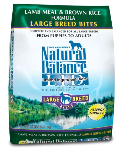 Natural Balance Dry Dog Food, Grain Free Limited Ingredient Diet Large Breed Lamb Meal and Rice, 15 Pound Bag