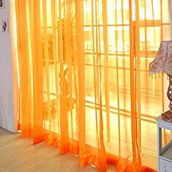 2016 Modern Style Room Wedding Colorful Floral Tulle Voile Door Window Curtain Sheer Valances Scarf 11 Types (2PCS 200X100CM, Orange)