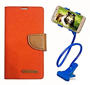 Aart Fancy Wallet Dairy Jeans Flip Case Cover for Nokia620 (Orange) + 360 Rotating Bed Moblie Phone Holder Universal Car Holder Stand Lazy Bed Desktop by Aart store.