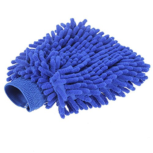 Foxpic Premium Microfibre Car Van Wash Shampoo Cleaning Mitt Glove Polishing Cloth Duster - Blue