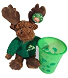St. Patrick Irish Moose 8 Stuffed Plush Toy with Green Cup and Pin - Gift Set