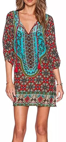 HIMONE Summer BOHO Retro Printed Casual Mini Beach Floral Tunic Dress Large