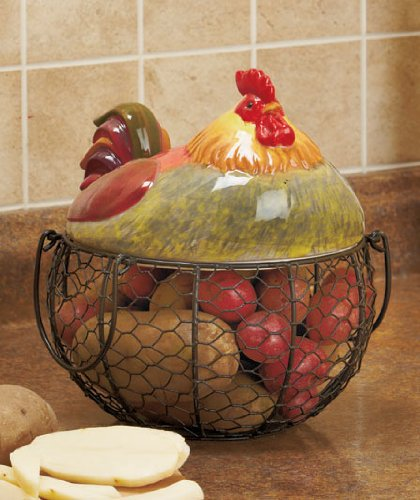 Farm Friend Rooster Wire Kitchen Basket front-748142