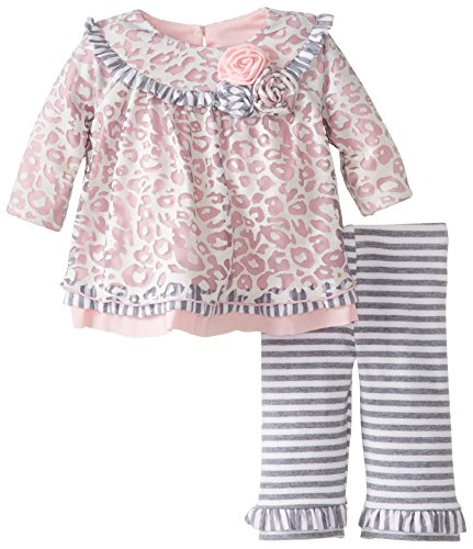 Bonnie Baby Baby-Girls Newborn Burnout Skin Print Legging Set, Pink, 6-9 Months front-1003234