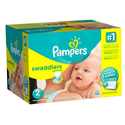 Pampers Swaddlers Diapers, Size 2, One Month Supply, 204 Count (Packaging May Vary) Personal Care