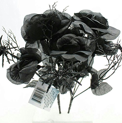 6-Stem 14″ Artificial Black Rose Bouquets with Spiders Floral Halloween (Pack of 2)