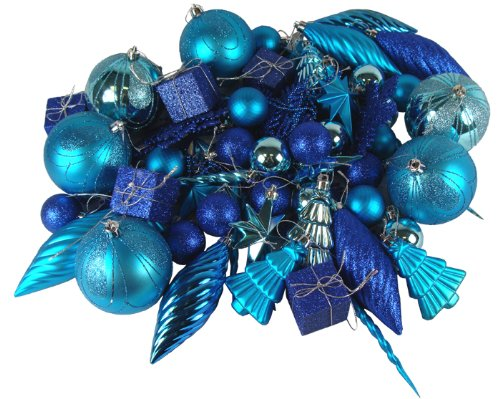 125-Piece Pack of Shatterproof Peacock Blue Ornaments