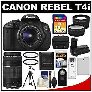 Canon EOS Rebel T4i Digital SLR Camera Body & EF-S 18-55mm IS II Lens with 75-300mm III Lens + 32GB Card + Case + Battery + Grip + Tripod + Filters + Lens Kit
