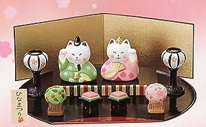 【 ねこのひな祭りセット 】 かわいい猫の雛人形です  【陶器製_手描き】 送¥0