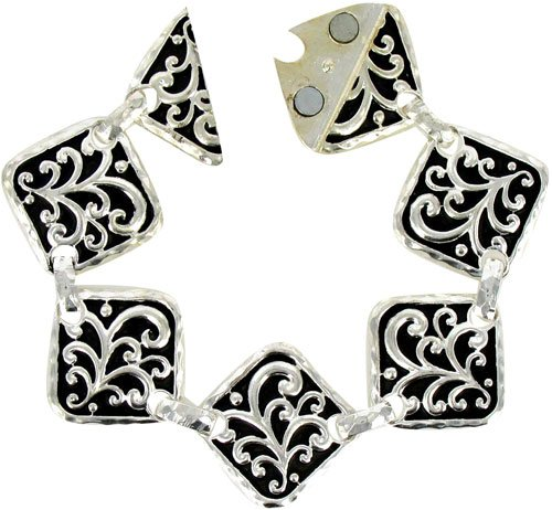 Silvertone & Black Scroll Design Diamond Magnetic Link Bracelet Fashion Jewelry