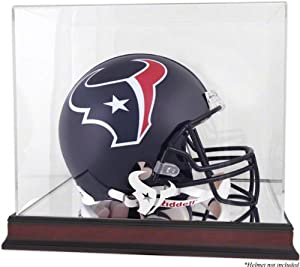 Houston Texans Mahogany Helmet Logo Display Case with Mirror Back by Mounted Memories