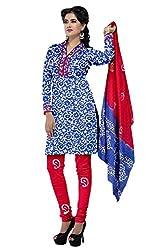 PADMiNi Ethnicwear Women's Dress Material Blue Free Size