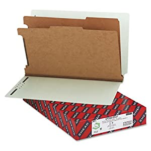 """Smead Products - Smead - Pressboard End Tab Classification Folder, Legal, 6-Section, Gray-Green, 10/Box - Sold As 1 Box - SafeSHIELDTM coated fastener technology. - 2"""" capacity prong fasteners inside 25 pt. pressboard covers. - 1"""" capacity prong fasteners on both sides of 17 pt. brown Kraft dividers. - Matching Tyvek tape for expansion. - Straight tabs (labels sold separately)."""
