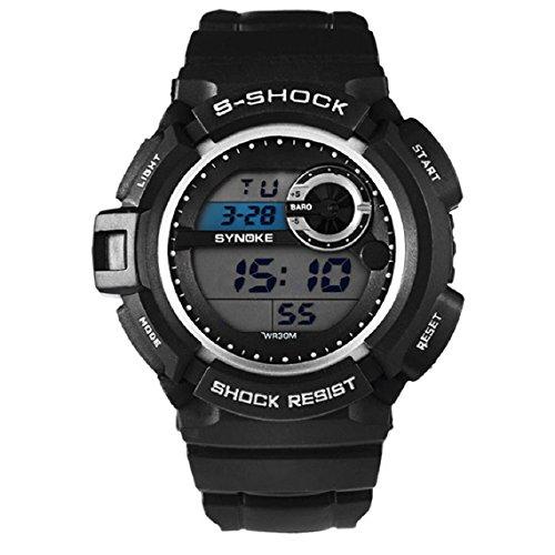 Zps(Tm) Men Waterproof Sports Digital Led Alarm Day Date Rubber Band Wrist Watch (Black)