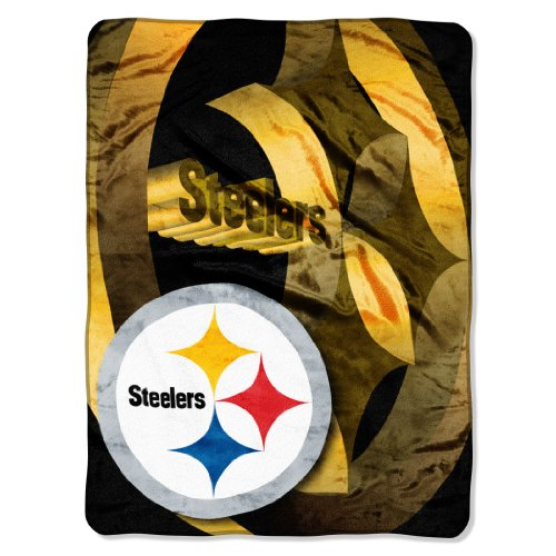 "Nfl Pittsburgh Steelers 60-Inch-By-80-Inch Micro Raschel Blanket, ""Bevel"" Design front-486896"