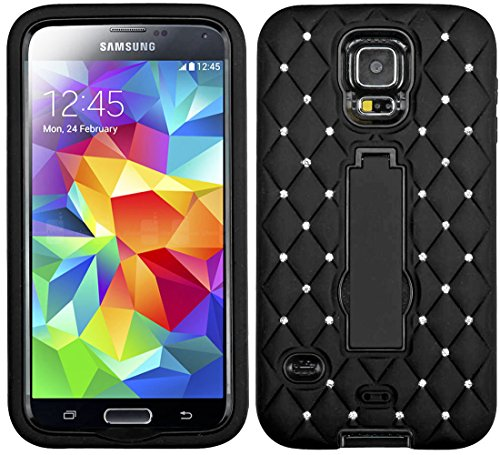 Mylife (Tm) Electric Midnight Black - Diamond Shock Suit Survivor Series (Built In Kickstand + Easy Grip Silicone) 3 Piece + 2 Layer Case For New Galaxy S5 (5G) Smartphone By Samsung (External Flex Silicone Bumper Gel + Internal 2 Piece Rubberized Snap Fi